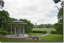 Magna Carta Memorial & view towards the 'medes'